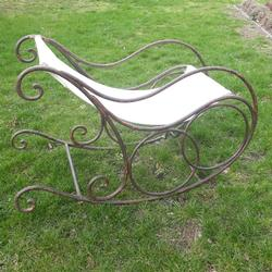 French Garden Rocking Chair 1920 in iron, France