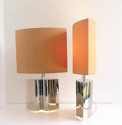 Elegant Pair Of Plated Table Lamps Hollywood regency in plated silver, not stamped, white metal, Italy 1980