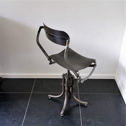 Bienaise Chair industrial in iron, pasteboard, France 1930-1940