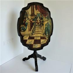 late 18th century Dutch Painted Tilttop Table, Queen Of Sheba Visit King Salomo, Ebonised Base And Bird Cage