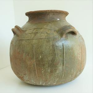 primitive French Dordogne Terracotta Glazed Storage Jar
